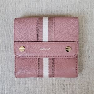 Bally Small Wallet Purse Pink Leather Stripe